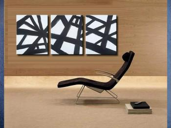 Image of 3 Large Gallery Black and White Paintings 6ft  FREE SHIPPING