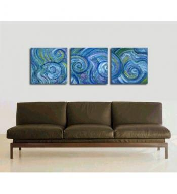 Image of 3 Beachy Blue Triptych