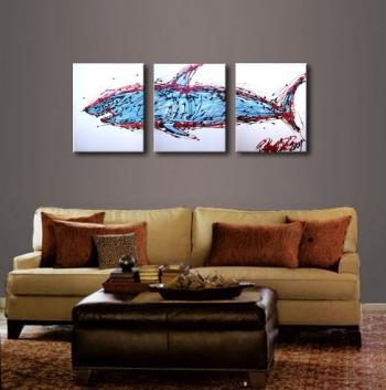Image of Art Shark 3 Piece Stylistic Pieces . Textured on White