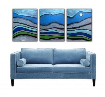 Image of 3 Mystic Blue Turquoise Desert Paintings FREE SHIPPING