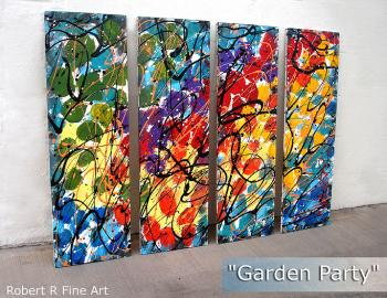 Image of  4 Panel Splashy Rainbow Custom ART