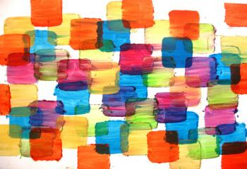 Image of Sale - Sunny Color Blocks 24x30 Art Abstract Painting Modern