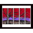 Image of Red Violet Sunset Tree Paintings