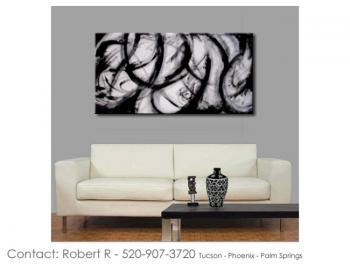 Image of Sale - 48x24 Soho Black Abstract Art Paintings FREE SHIPPING