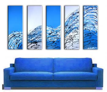 Image of  5 Blue Success Paintings - Original Painted Art -