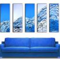 Image of  5 Blue Success Paintings - Original Painted Art - FREE SHIPPING