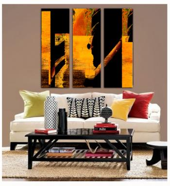 Image of 3  Tequila Fire Gold Espresso Triptych