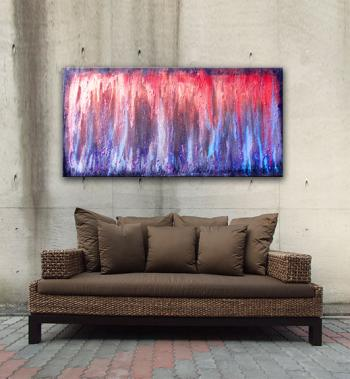 "Image of Original Art. Volcanic Embers 48""x24"" Modern paintings contemporary art  www.splashyart.com"